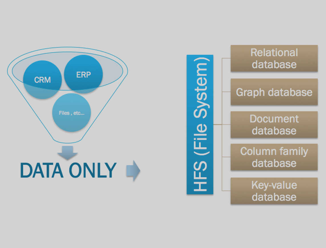 We use the most appropriate databases to your environment.<br />We store the data and only the data.